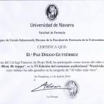 Diploma de participación en el concurso Nutrivideo